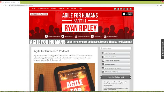 The Agile for Humans podcast is produced by Ryan Ripley