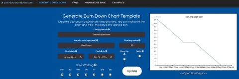 PrintYourBurndown.com is a free online service that allows you to create a blank Scrum burndown or burnup chart template