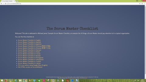 Michael James' Example Scrum Master Checklist